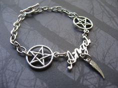 Supernatural Angel Hunter Pentagram Charm Bracelet by AngelQ, $14.95