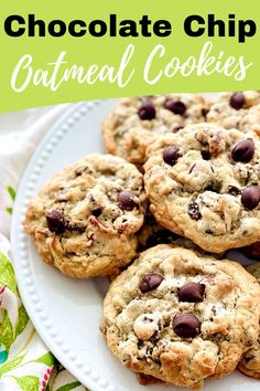 Oatmeal Chocolate Chip Cookies are perfectly gooey and deliciously chunky. The tops and bottoms are crispy, while the inside is soft and filled with all kinds of goodness. The BEST cookies EVER! #bestcookiesever | QuicheMyGrits.com
