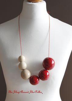 ☆ Collier Perles en Bois Peintes à la main ☆ Rouge Pomme d'Amour & Naturel ☆