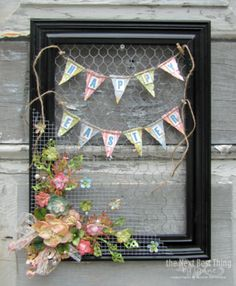 """What an amazing creation from Petaloo DT member Lynne Forsythe!  She has created an """"Altered"""" Easter Frame with chicken wire, Petaloo flowers and a Graphic 45 paper banner.  See all the dtails on our Blog..."""