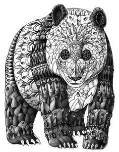 Panda Art Print  Zentangle