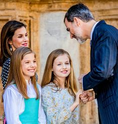 King Felipe and Queen Letizia of Spain with Princesses Leonor and Sofia Easter 2018