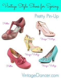 Vintage Style Shoes: Perfect your pin up look with these pastel shoes at VintageDancer.com