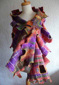 nuno felted scarf wrap handmade silk felted by FeltedArtToWear