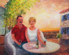 Painting «Rainer & Birgit» by Nadine Lière, Acrylic on canvas board, 50 x 40 cm, 2016, grenadine-art.eu