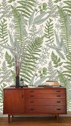 Beautiful fern watarcolor wallpaper, floral #housewares #homedecor @EtsyMktgTool #removablewallpaper #peelandstick #walldecor
