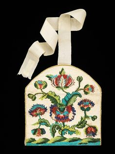 Beaded and embroidered silk purse, French, ca. 1760.