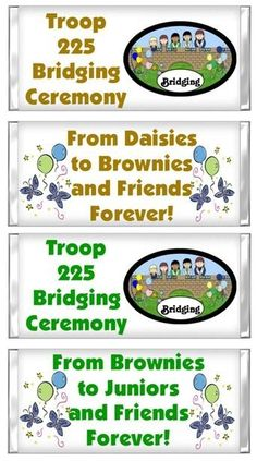 Girl Scout Bridging Ceremony CANDY BAR WRAPPERS by myhtmdesigns, $8.99