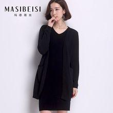 2016 New MASIBEIS Women Christmas Brand Sweater 100% Wool O-neck Long Cardigan Long-sleeved Open Stitch Women Coat Hot Sale(China (Mainland))