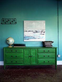 Emerald Green Dresser Inspiration | Vintage Ground: Vintage Distressed Green Dresser / Buffet