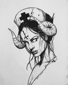Hathor is the egyptian goddess of Love, Music and Art. She is commonly depicted as a cow goddess with head horns. Firstly in respect of… Demon Drawings, Creepy Drawings, Dark Art Drawings, Art Drawings Sketches, Tattoo Sketches, Tattoo Drawings, Drawing Art, Blackwork, Nurse Drawing