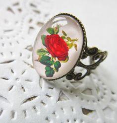 Red Rose Cameo Ring - Filigree Cabochon. £6.00, via Etsy.