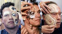 Arnold Schwarznegger having his facial prosthetics & make-up applied for each #Terminator movie