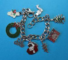 Vintage Sterling Christmas Theme Charm Bracelet #2