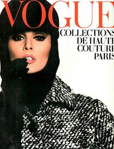 French Vogue-October 1963, Wilhelmina Cooper in Coat and Hat by Yves Saint Laurent.