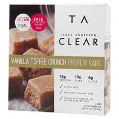 Tracy Anderson Vanilla Toffee Crunch Protein Bars: 15 grams of protein per serving Protein Energy, Energy Bars, Amp Energy, Tracy Anderson Diet, Green Coffee Bean Extract, Natural Coffee, Low Calorie Snacks, Best Diet Plan