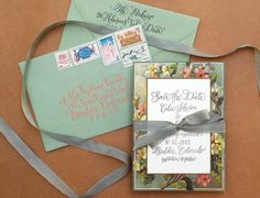 this sage grey ribbon looks cool for wedding programs...  DIY Tutorial: Vintage Floral Border Save the Date