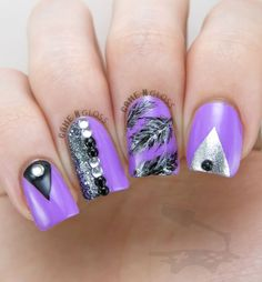 Purple feather studs nail design - IG @GameNGloss