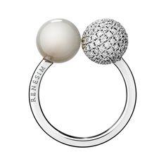 Ring Mondstein & Diamant in Weißgold | &-Collection RENÉSIM