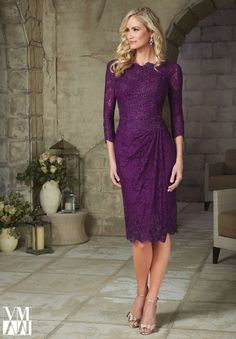 Modest Purple Lace Knee Length Mother of the Bride Dresses 2015 Three Quarter Sleeves Evening Dress Plus Size Robe