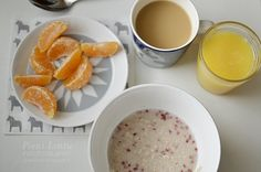 Fruits, porridge and coffee for a breakfast