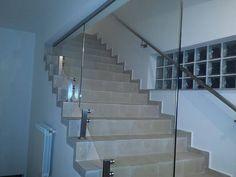 Perete din sticla cu elemente de prindere din inox si cu sticla securizata si laminata | 0720.484.274. Mai multe modele pe InoxConstanta.ro Mai, Stairs, Home Decor, Stairway, Decoration Home, Room Decor, Staircases, Home Interior Design, Ladders