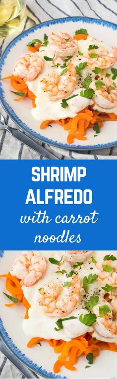 An alfredo you can feel better about! This healthy shrimp alfredo offers lots of lean protein, and is low carb and flavorful thanks to carrot noodles! Get the skinny alfredo recipe on http://RachelCooks.com! #sponsored /MilkMeansMore/
