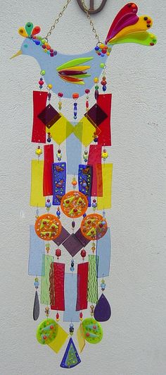 Image detail for -Stained and fused glass wind chimes, suncatchers, fan pulls, wall and window decorations crafted by Jeanne Van Kirk.