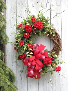 Large Spring / Summer Wreath, Spring Wreaths for Front Door, Red Geranium Wreath, Patriotic Wreath, of July Wreath Christmas Door Decorations, Xmas Wreaths, Wreaths For Front Door, Diy Spring Wreath, Diy Wreath, Grapevine Wreath, Patriotic Wreath, 4th Of July Wreath, Purple Wreath
