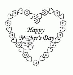 Cute Heart for Mother's Day coloring page for kids, coloring pages printables free - Wuppsy.com Mothers Day Coloring Pages, Mothers Day Pictures, Coloring Pages For Kids, Warm Colors, Independence Day, Kids And Parenting, Colored Pencils, Minions, Fathers Day