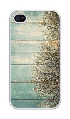 Pastel Wood with Bush Pattern RUBBER iphone 4, iphone 4S case