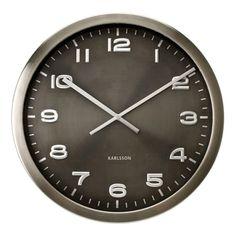 Relógio de Parede Aço Escovado Maxie Cinza 50