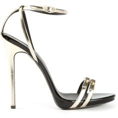 Giuseppe Zanotti Design Strappy Sandals (11,090 MXN) ❤ liked on Polyvore featuring shoes, sandals, heels, sapatos, giuseppe zanotti, metallic, heeled sandals, open toe sandals, strappy heel sandals and ankle strap shoes
