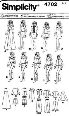Free pattern for a Barbie wardrobe