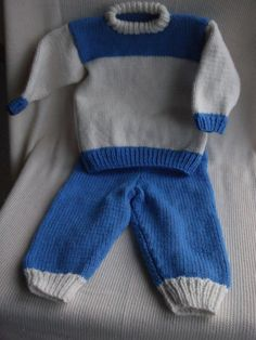 Baby Boy Blue and Cream 2 Piece Sweater and Trousers by ArdSolas, £18.00