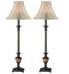Kenroy Home 30944 Lamp Sets from the Emily Collection Crackle Bronze Lamps Lamp Sets Buffet Lamps