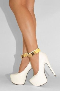 #white #gold #ankle #strap #pumps #stilettos #high #heels
