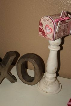 Love the cute candlestick w/mailbox on top.  Good idea for Christmas, too!  Love letters mail box for Valentines day #diy #holiday