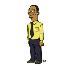 Adrien Noterdaem Gives Breaking Bad Characters The Simpsons Treatment Breaking Bad Cast, Breaking Bad Series, Walter White, Gustavo Fring, Gus Fring, Simpsons Characters, Say My Name, Janis Joplin, Pie Cake