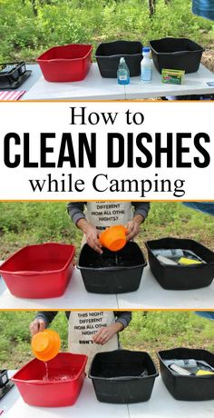 How to Properly Clean Dishes by Hand while Camping - Want to make sure your dishes are clean when camping? Clean dishes using this 3 dishpan cleaning method. This old scout technique won't burn your hands! This works washing dishes at home too. [ad] #camping #dishes #clean