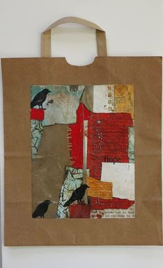 Collage art of Laura Lein-Svencner: more collage on a paper bag - great idea!