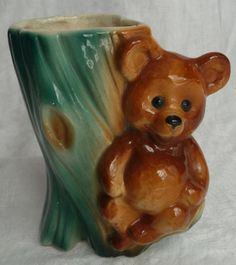 Teddy Bear Planter  Royal Copley Ceramics Pottery  by AngelGrace, $10.00