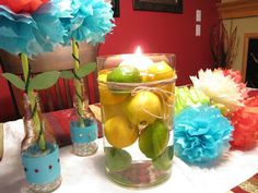 Lemon Lime centerpiece Lovely Scribbles: Mexican Fiesta Dinner Party