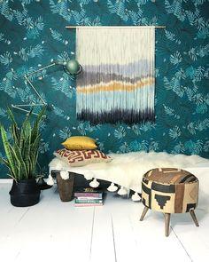 apartmentf15 — Wallpaper @justinablakeneyhome @justinablakeney Kuba cloth stool @shopfleamarketfab Dip Dyed Tapestry @fibersbyfilia Kuba cloth pillow, Moroccan pompom blanket @tierradellagarto