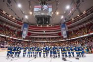 STOCKHOLM, SWEDEN - MAY 18: Team Sweden stands for their national anthem after defeating Team Finland during semifinal action at the 2013 IIHF Ice Hockey World Championship. (Photo by Richard Wolowicz/HHOF-IIHF Images)