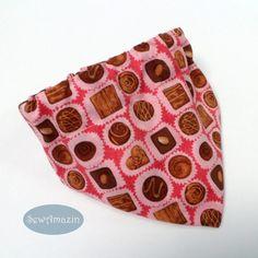 Chocolate Truffles Valentine Collar Slipcover Dog Bandana | SewAmazin @sewamazin #indiemade