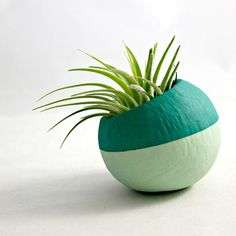 Mini Air Plant Teal Ombre Colorblock Pod // Container // Home and Garden Decor // Air Plant Pot