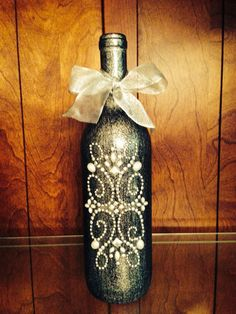 Decorated Wine Bottle Centerpiece, Black & Silver. Wine Bottle Decor. Wedding Table Centerpieces. Centerpiece Ideas on Etsy, $20.00
