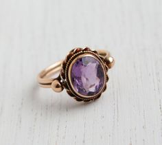 Antique 14k Rose Gold Victorian Edwardian Amethyst Ring -  Size 6 Late 1800s Early 1900s Purple Stone Fine Jewelry / Twisted Studded Setting...
