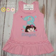 Personalized Dora Birthday with dots and flower Dress - Custom Made Sizes 6 mos-Girls 6X